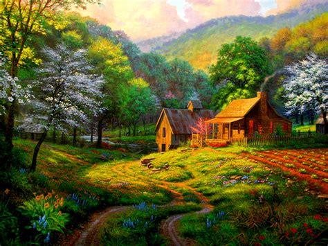 painting  beautiful village art id  art abyss