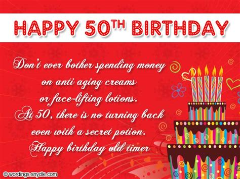50th Birthday Wishes, Messages And 50th Birthday Card