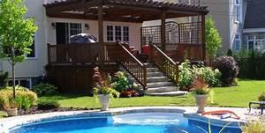 amenagement paysager complet facade et arriere cour With photo amenagement paysager exterieur 6 realisations de piscines creusees en beton piscine