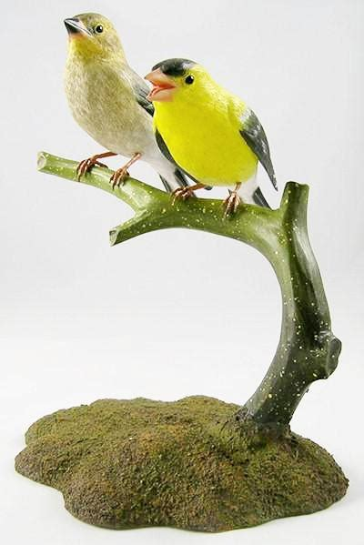 pair  american goldfinch hand carved wooden bird