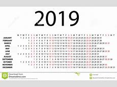 水平的日历在2019年在白色 向量例证 插画 包括有 2月, 日志, 月度, 行军, 自治权, 威严的