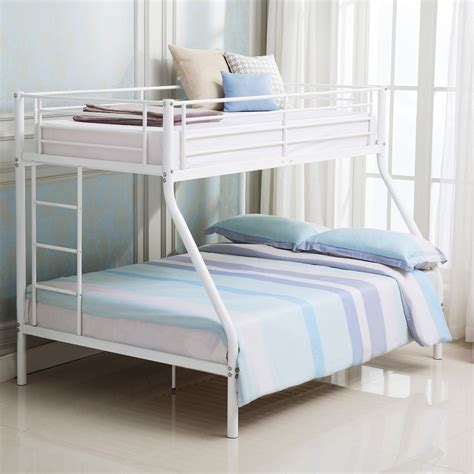 white metal twin  full bunk beds ladder kids teens