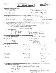 quiz review answer key algebra    quiz