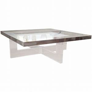 large nickel finishbronze accent glass and lucite coffee With large lucite coffee table