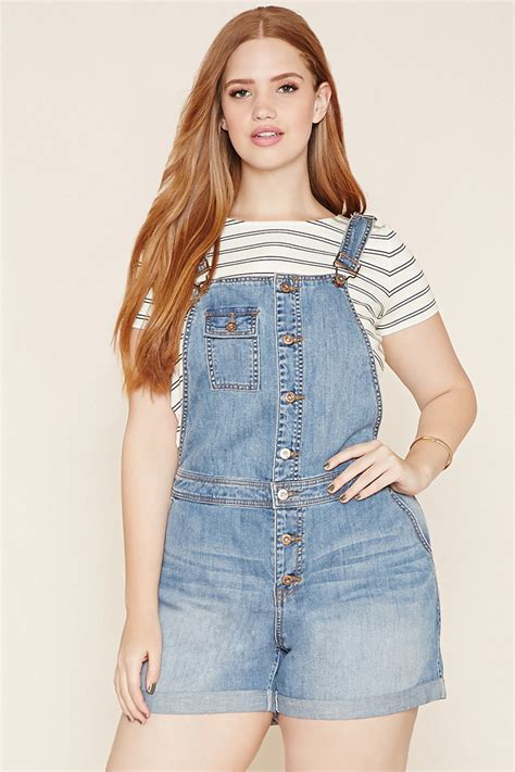 Lyst - Forever 21 Plus Size Denim Overall Shorts in Blue
