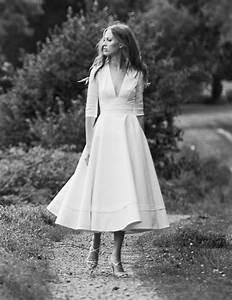 prospere robe de mariee mi longue avec manches 3 4 50s With robe longue ecru