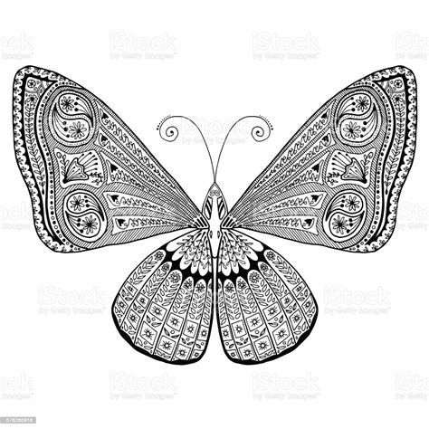 intricate detailed butterfly adult grown  coloring page stress relaxing stock illustration