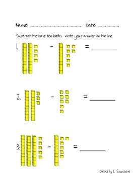 base ten block subtraction with and without regrouping tpt