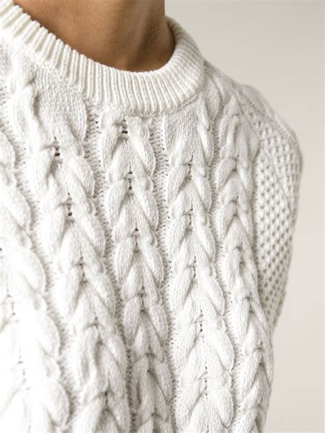 knit sweaters lyst joseph sleeve cable knit sweater in white
