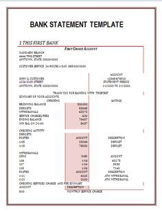 bank statements statement template credit card