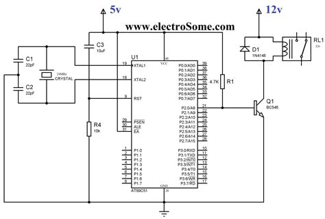 12v Relay Schematic Diagram by Interfacing Relay With 8051 Using Keil C At89c51
