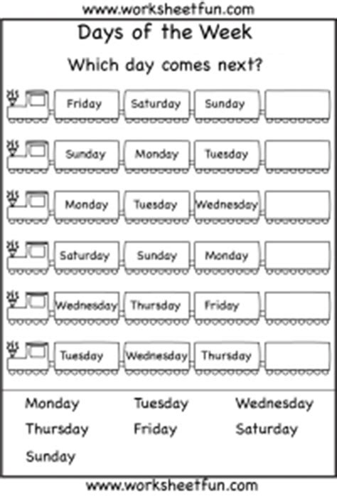 spelling days of the week free printable worksheets 832 | daysoftheweekTRAINnext1 200x296