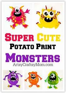 5 Potato Print Monsters For Kids   Free Printable