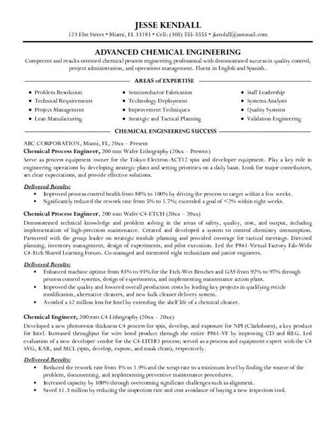 Proper Resume Template by Chemical Engineer Resume Exles Ou Visit To The