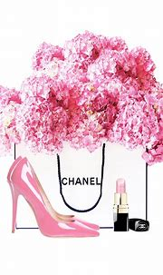 pink flower poster fashion girl room decor | Chanel wall ...