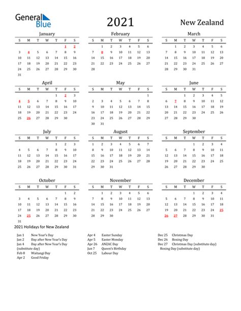 Therefore, the dates of the holidays are subject to change, and we cannot guarantee their complete accuracy. 2021 Calendar - New Zealand with Holidays