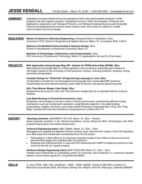 resume exles exle internship resume template sle