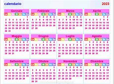 calendario 2023 orizzontale e verticale