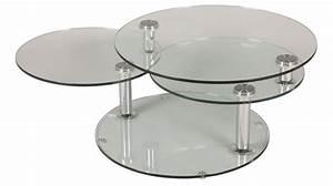 Table Ronde De Salon : grande table basse en verre ronde 3 plateaux table basse design en verre ~ Teatrodelosmanantiales.com Idées de Décoration