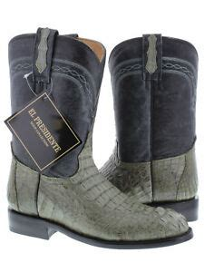 Mens Gray Roper Crocodile Leather Cowboy Boots Rodeo