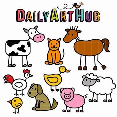 Farm Animals Stick Clip Simple Drawing Barnyard