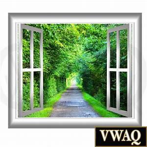 Peaceful walking path window frame d wall art serene