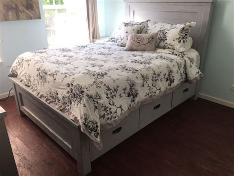 queen size farmhouse bed  storage