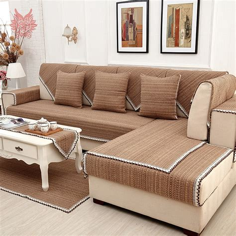 Slipcovers For Sectional Sofas With Recliners by Europe Style Brown Solid Cotton Linen Sofa Cover Lace