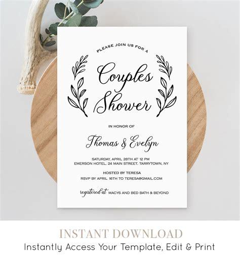Couples Shower Invitation Template Printable Wedding