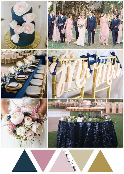 navy blue wedding color schemes navy blush and gold garden inspired wedding color scheme