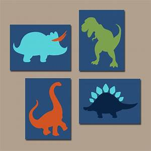 Dinosaur wall art canvas or prints boy dinosaur theme baby for Dinosaur wall art