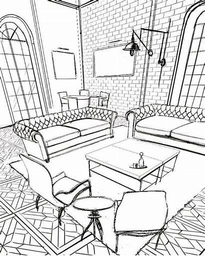 Interior Coloring Pages Drawing Adult Sketch Perspective