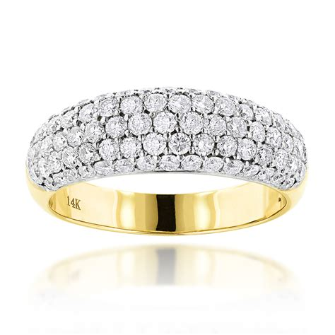 pave diamond rings 14k gold diamond wedding band 1 52ct