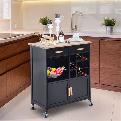 Portable Kitchen Rolling Cart Island Storage Wine Rack
