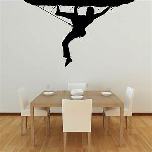 Black climber picture on white wall paint as cool simple