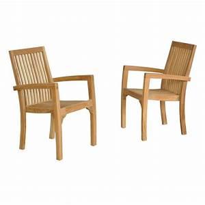 Fauteuil Jardin Bois : lot de 2 fauteuils de jardin empilables en bois de teck midland bois dessus bois dessous ~ Teatrodelosmanantiales.com Idées de Décoration