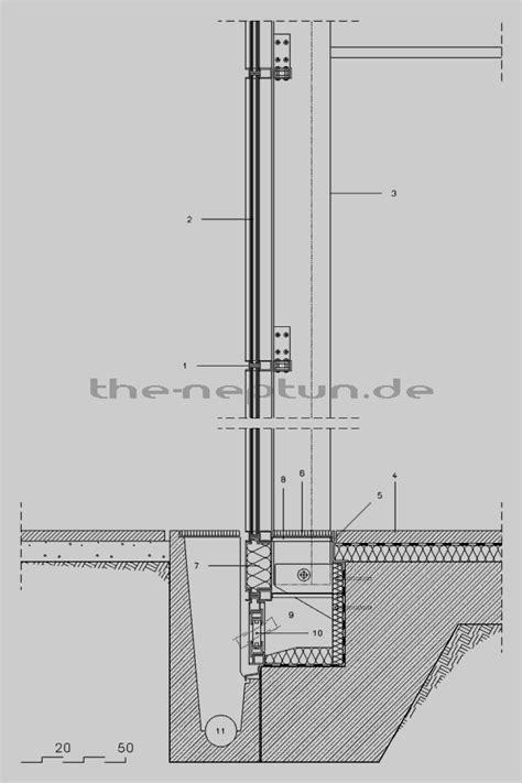 pfosten riegel fassade detail schüco detail anschluss fassade an bodenplatte