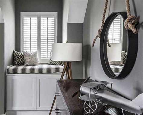 Gray Boys Room With Window Seat
