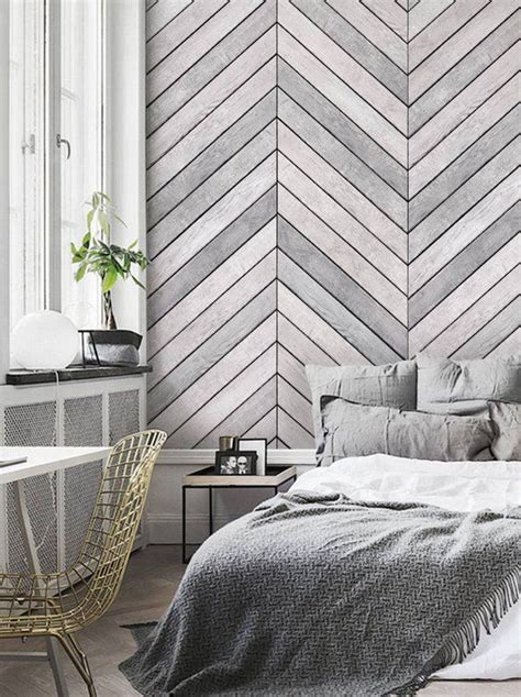 chevron grey white wood accent wallpaper grey white wood