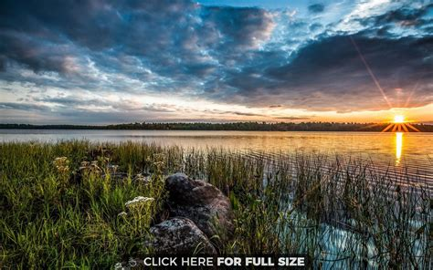Sunset Landscape Over Lake Wallpaper
