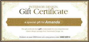 Interior design printable online gift certificates and for Interior decorator certificate online