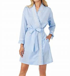 eileen west 5116178 chambray embroidered short wrap robe With robe chambray