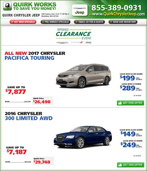 Quirk Chrysler Braintree by Quirk Chrysler New Car Specials At Boston Buy