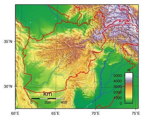 large topographical map  afghanistan afghanistan