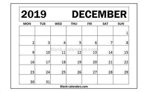 december calendar monday start design blank templates