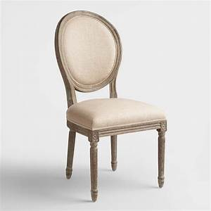 Natural linen paige round back dining chairs set of 2 for Armchair side covers