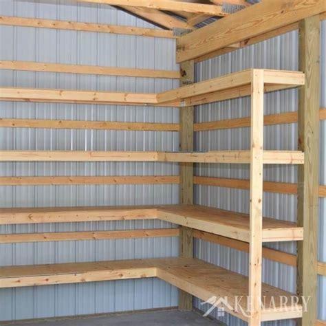 diy corner shelves  garage  pole barn storage barn