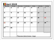 Kalender april 2019, België Michel Zbinden NL