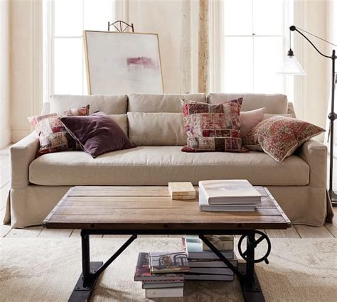 Pottery Barn Loveseat by York Slope Arm Seat Slipcovered Sofa Pottery Barn