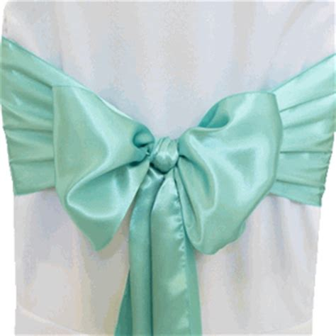blue aqua satin chair sashes chair bows ties